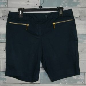 MICHAEL Michael Kors Navy Shorts with Gold Zip E9